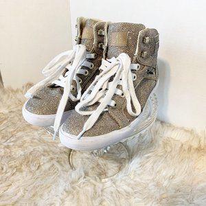 G by Guess Gold Sparkle High Top Sneakers 9